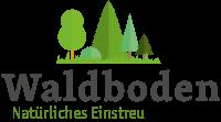 Logo-Waldboden Einstreu, stilisierte Waldbäume mit Logo-Schriftzug